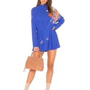 NWT Free People Gemma blue tunic dress sz L